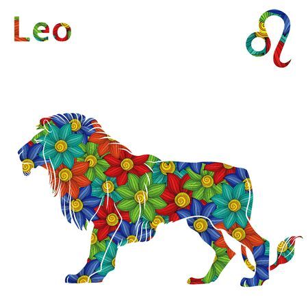 Zodiac sign Leo with filling of colorful stylized flowers on a white background, vector illustration Ilustração