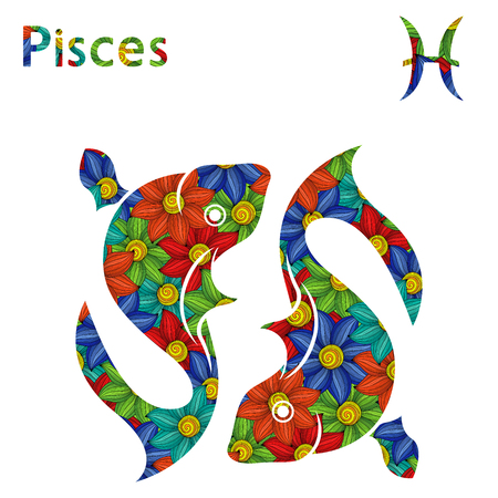 Zodiac sign Pisces with filling of colorful stylized flowers on a white background, vector illustration
