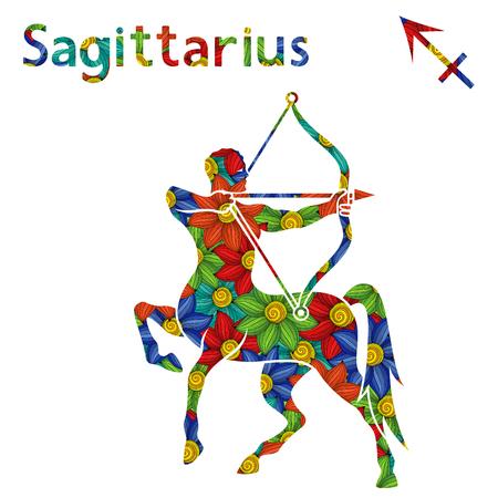 Signo del zodiaco Sagitario con relleno de coloridas flores estilizadas sobre un fondo blanco, ilustración vectorial Ilustración de vector