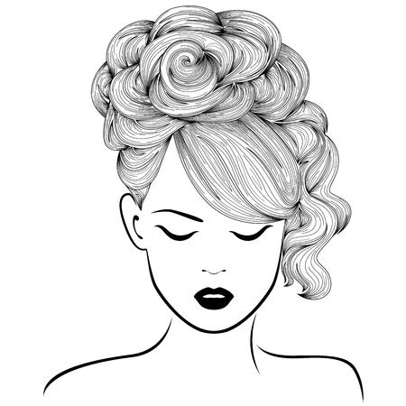 Chica soñadora atractiva con alto peinado magnífico, mano se ahoga ilustración vectorial detallada aislado en el fondo blanco