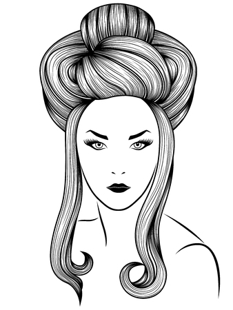 Model with high bun gorgeous coiffure with long locks, hand drown detailed vector illustration isolated