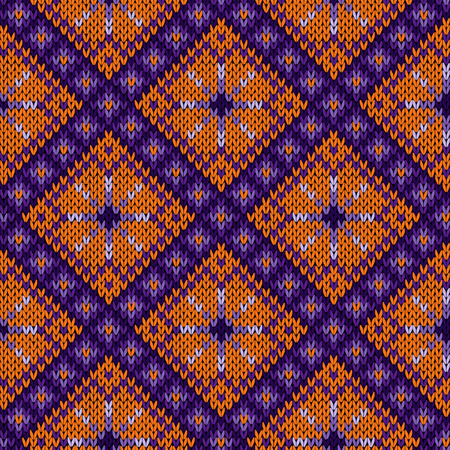 Geometric seamless knitted vector pattern in orange and violet hues Illustration