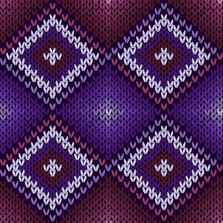 Geometric seamless knitted ornamental vector pattern mainly in magenta and violet hues as a fabric texture Illustration