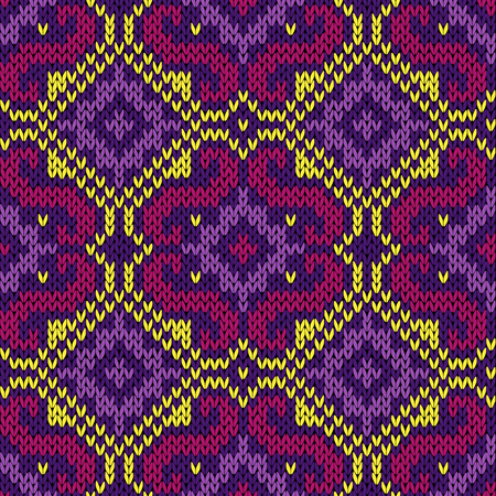 Seamless knitted ornamental vector pattern in magenta, violet and yellow hues as a fabric orient texture