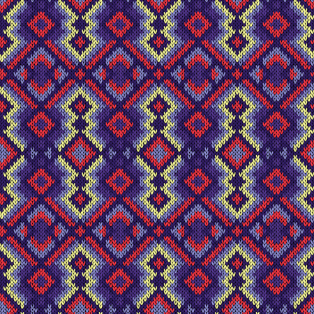 Geometric seamless ornamental knitted vector pattern mainly in violet, blue, terracotta and yellow hues as a fabric texture