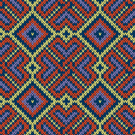 Seamless ornamental knitted vector pattern mainly in blue, and yellow hues as a fabric texture 일러스트