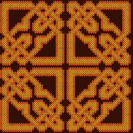 Oriental ornate seamless knitted vector pattern in yellow, orange and brown hues as a fabric texture