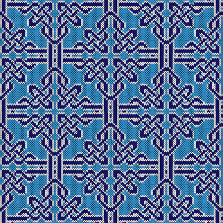 Knitted seamless vector pattern similar to ornate lattice as a fabric texture in blue and white colors