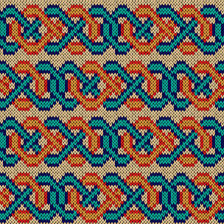 Knitted seamless vector pattern similar to ornate interlaced chain as a multicolor fabric texture