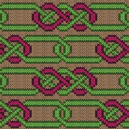 Knitted seamless vector pattern similar to interlaced chains as a fabric texture
