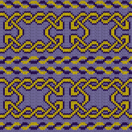 Knitted ornate interlaced seamless vector pattern as a fabric texture in yellow and violet hues