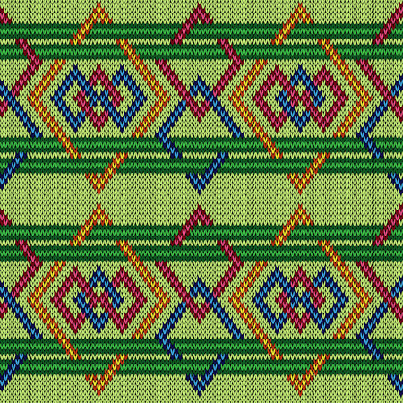 Knitted ornate geometric interlaced seamless multicolour vector pattern as a fabric texture 일러스트