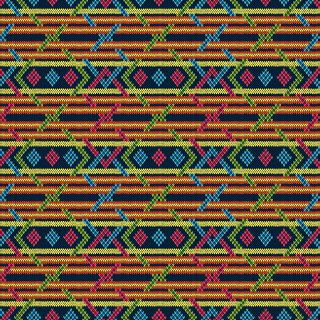 Seamless knitted ornate geometric interlaced seamless multicolour vector pattern as a fabric texture Ilustração