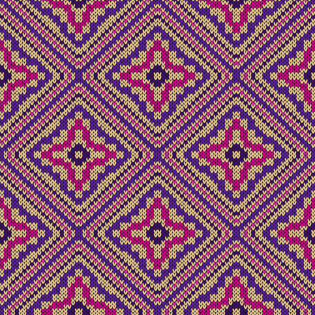 Knitting seamless vector quadratic ornate pattern as a fabric texture in pink, violet and beige colors