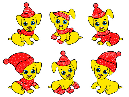 Set of six amusing yellow pappies in Santa clothes isolated on the white background, Christmas vector illustration.