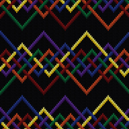 Knitting seamless vector pattern with interlaced zigzag lines on the black background as a fabric multi-color texture.