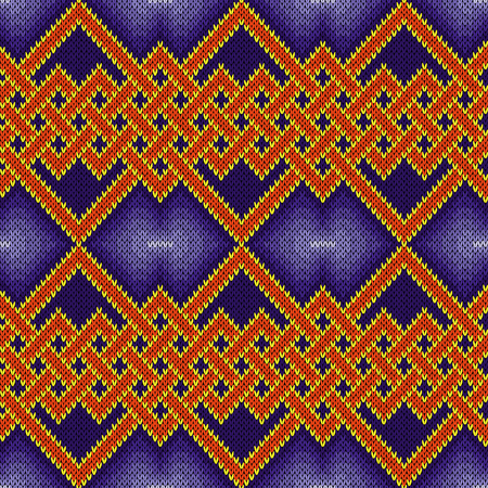 Knitting seamless vector pattern with interlaced zigzag lines mainly in blue and orange hues as a fabric texture.