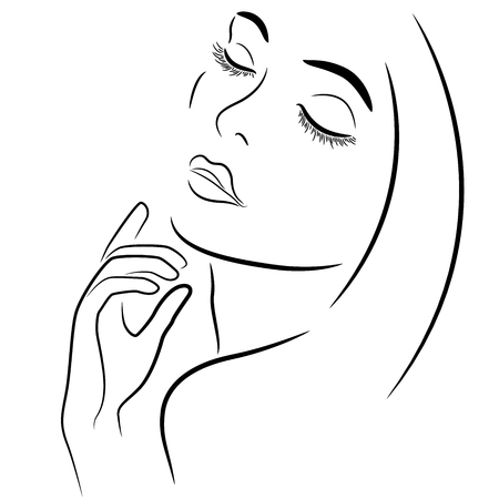Abstract beautiful woman with closed eyes and with hand near the chin, hand drawn vector outline Illustration