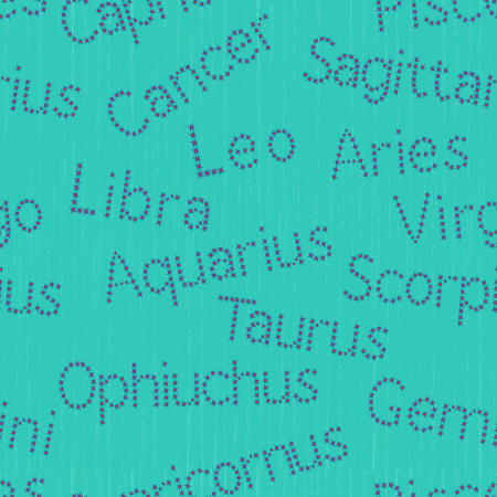 Seamless pattern with scattered Zodiac sign starry inscriptions, vector illustration on the turquoise background