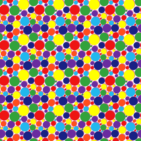 Seamless vector pattern with many colorful circles over white background