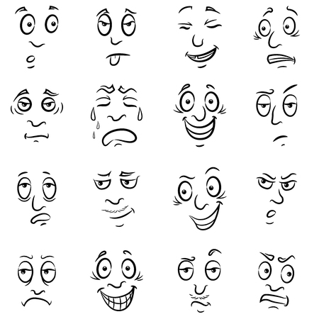Set of sixteen funny male grimaces, sketching cartoon vector outlines isolated on the white background Ilustração