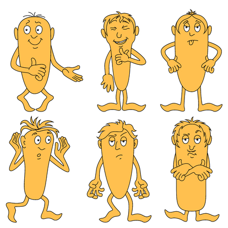 Collection of six amusing male characters with various grimaces, cartoon vector illustrations isolated on the white background