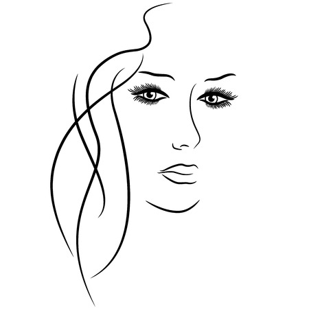 Abstract female face with detailed eyes, hand drawing vector outline over white