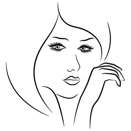 Female face and hand, vector outline over white