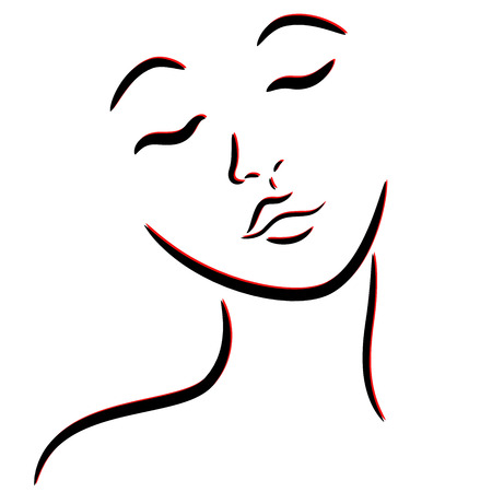 Abstract female face with closed eyes, hand drawing vector outline in black and red colors Vektoros illusztráció
