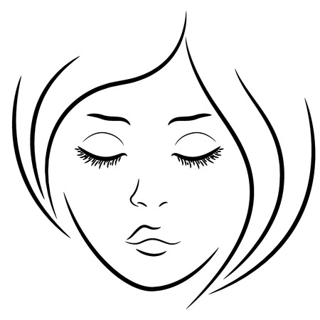Woman face with closed eyes, hand drawing vector outline