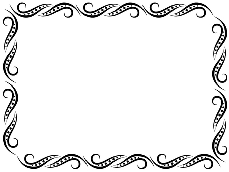 Pattern with black ornate floral frame border on the white, vector illustration