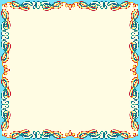 Greeting card with ornamental swirl color floral frame on the white background, vector illustration