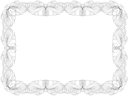 Greeting card with ornamental swirl floral frame isolated on the white background, vector illustration