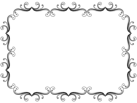Ornate greeting card with swirl floral black frame on the white background, vector illustration Vectores