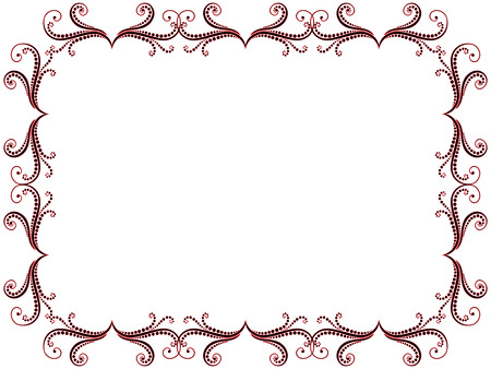 Ornate greeting card with black and red swirl floral elements of frame on the white background, vector illustration