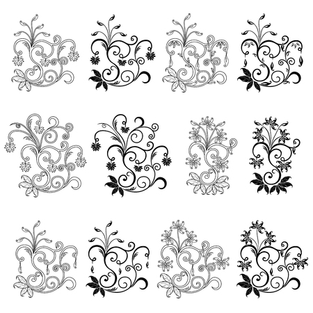 Set of twelve swirl floral design elements with leaves and flowers, vector illustration