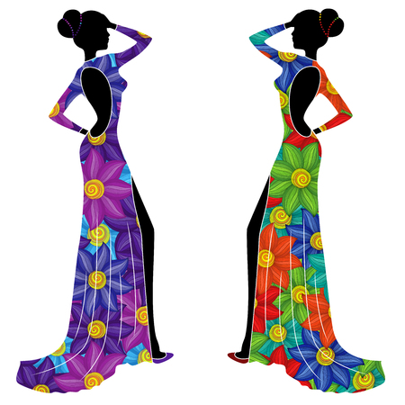 Beautiful graceful Ladies in long gowns with big colorful flowers