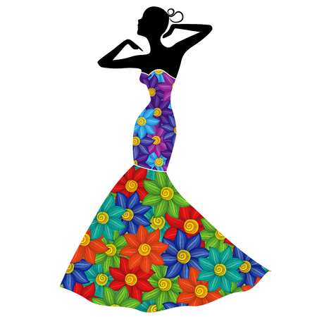 Attractive graceful Lady in long gown with colorful flowers