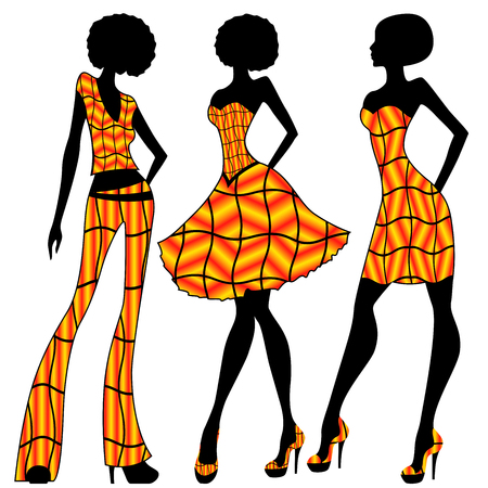 Attractive slender women dressed in bright yellow and orange clothes, vector illustration  イラスト・ベクター素材