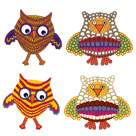 Set of funny ornate owls with circles isolated on the white background, vector illustration
