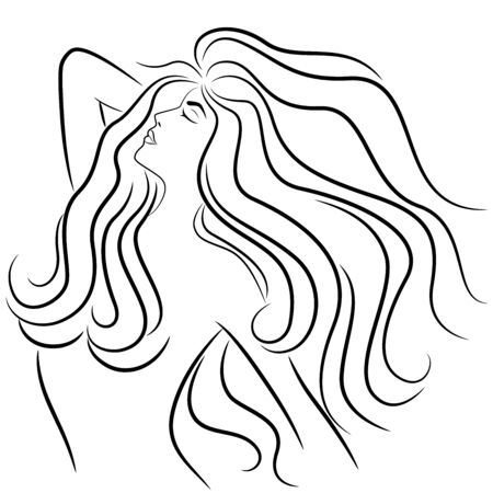 Abstract female portrait with luxurious wavy hair and close eyes, sketching vector illustration