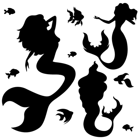 Mermaid and fish black silhouettes isolated on a white background, vector illustration