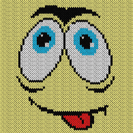 Amusing grimace with desire expression, knitting vector pattern as a fabric texture