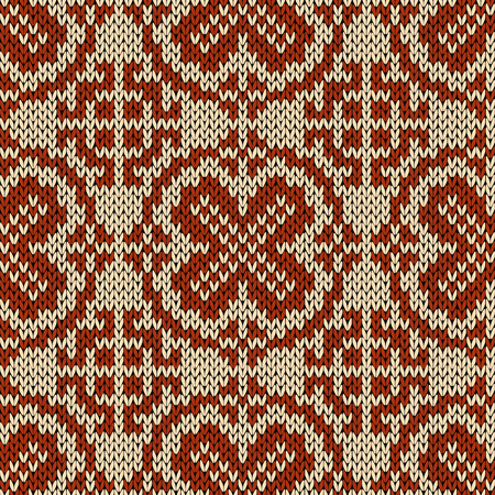 Knitting motley orient ethnic background in beige and brown colors, seamless knitting vector pattern as a fabric texture Stock Illustratie