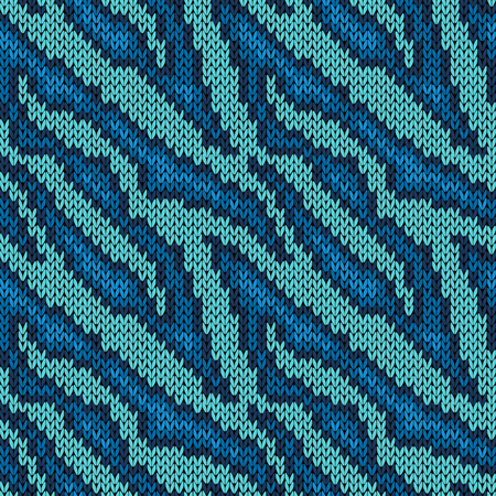 Seamless camouflage background, knitting vector pattern as a fabric texture in various blue hues