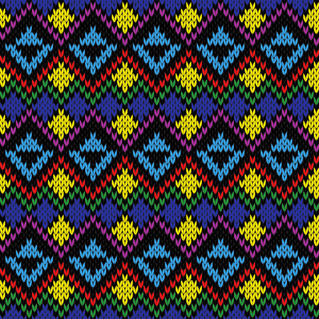 Knitting multicolour motley ethnic background in red, yellow, green, purple and blue colours, seamless knitting vector pattern as a fabric texture Illustration