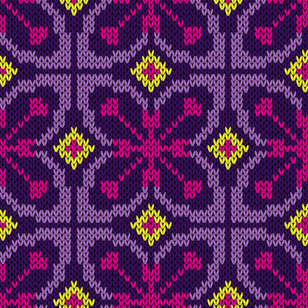 Knitting multicolour motley ethnic background in yellow, magenta and purple hues, seamless knitting vector pattern as a fabric texture