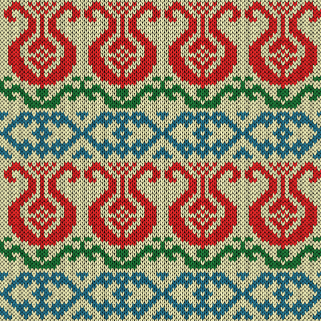 Ethnic multicolour motley background in red, blue, green and yellow colors, seamless knitting vector pattern as a fabric texture Stock Illustratie