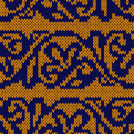 Ethnic multicolour motley background in yellow and blue colors, seamless knitting vector pattern as a fabric texture