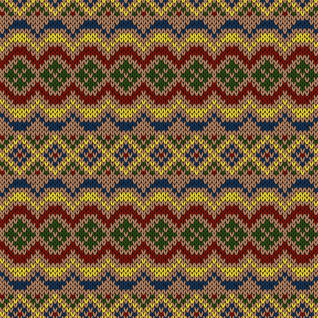 Multi colored ethnic motley background in red, yellow, green, beige and blue colors, seamless knitting vector illustration Stock Illustratie